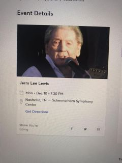 2 Tickets to Jerry Lee Lewis