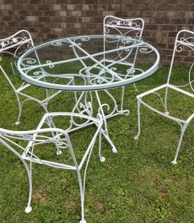 Vintage Wrought Iron Glass Top Table & 4 Chairs