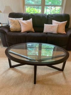 Coffee table and two matching end tables.