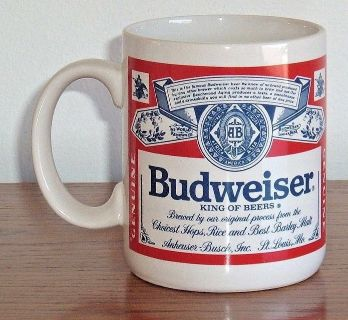 Vintage Anheuser Busch BUDWEISER BEER Official Product Mug Cup Coffee Tea Cocoa