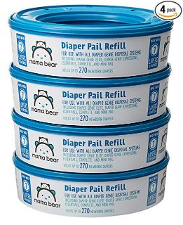 Mama Bear Diaper Pail Refills for Diaper Genie Pails, 1080 Count (Pack of 4)