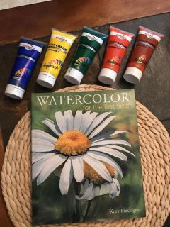 Hardback watercolor book and paints