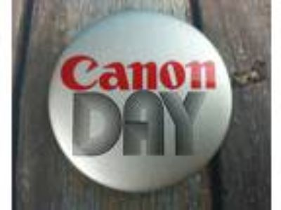 "Vintage 1980's Canon Camera Pinback Button ""Canon DAY"""