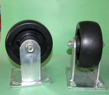 NEW - 2 - 5 inch Poly Rigid Caster wheels 500lb load rated greaseable bearings -