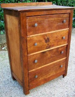 TEXAS PRIMITIVE PINE WOODEN 4 DRAWER CHEST MADE FROM 1930 RADIO CRATE