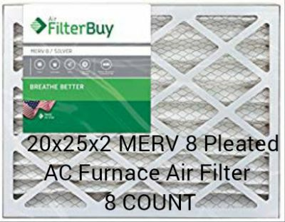 FilterBuy 20x25x2 MERV 8 Pleated AC Furnace Air Filter 8 count