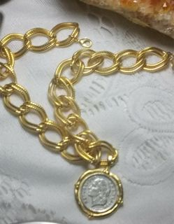 French coin double link coin necklace