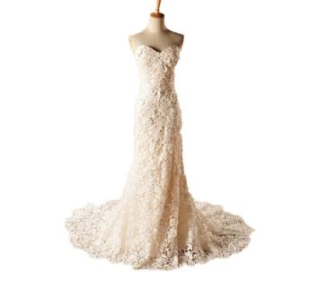 Camille's Sheath Strapless Lace/Tulle Wedding Gown