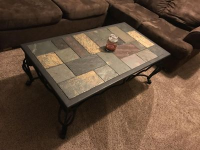 Wrought iron coffee and end table