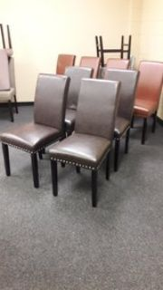 New Set of 4 Dark Brown Faux Leather Dining Chairs