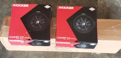 """Brand new Kicker CompR 10"""" Subs and dual 10"""" box"""