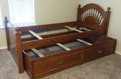 Bed frame with trundle.
