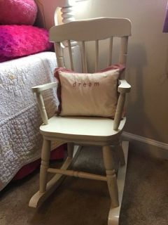 beautiful acme furniture style kids wooden rocking chair white