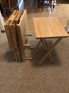 4 Wood TV Trays and Stand