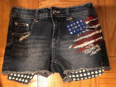 Justice Premium Flag Blue Jean Shorts. Like New Condition. Size 12