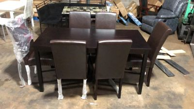 7 PC dining table set table small damage already assembled