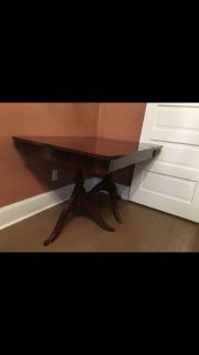Antique Cherry Dining Table w/ Rose Back Chairs, Leaf and Cover