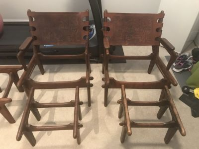 Mid Century Modern Ecuadorian Wood & Leather Chairs/Ottoman