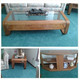 Oak coffee table, end table and side table