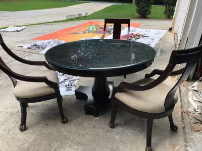 Palosanto wooden dining room table with chairs