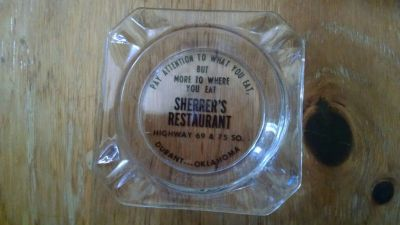 Vintage Sherrer's Ashtray from Durant, Oklahoma