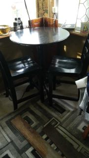 Black wood cafe/bistro table w/ 2 chairs