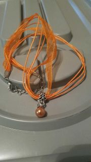 Orange Cord & Ribbon Necklace With Charm