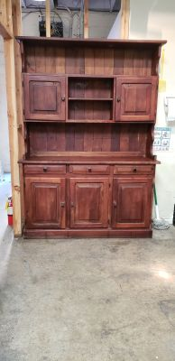 Rare Wood Kitchen Cabinet Hutch