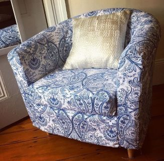 Tub Armchair with Custom Slipcover