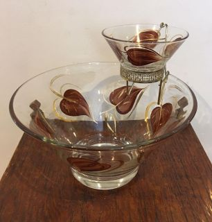 Vintage Mid-Century Glass Chip & Dip Bowls With Brown and Gold Petal Design