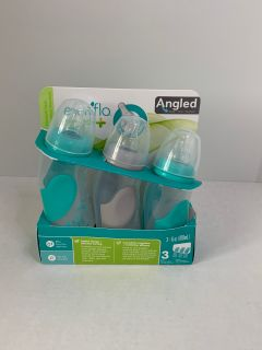 Set of 3 Evenflo Feeding Angled Premium Proflo Vented Plus Infant Baby Bottles - Helps Reduce Colic -6 Ounces Each
