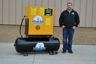 Purchase 7.5 HP, Single Phase Rotary Screw Air Compressor Mounted on 80-Gallon Tank motorcycle in Clayton, Ohio, US, for US $4,880.70