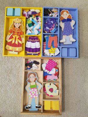 Melissa and Doug Wooden Magnetic Dress up Dolls