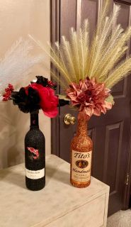 Glittered wine bottle Vases