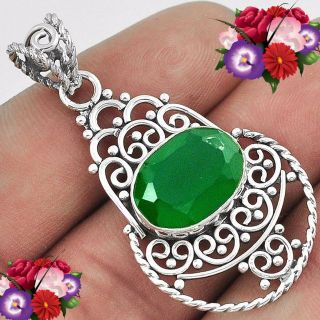 NEW - Natural Green Chalcedony Pendant with Chain