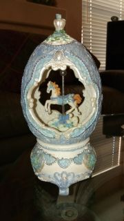 Decorated Egg w/ Horse Carousel Music Box