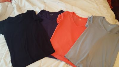 4 like new soft thin mudd brand v neck stretchy shirts size med. $5.00 for all. No holds or trades.