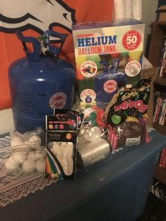 Helium tanks 1 1/4 left and balloons/ribbons/weights