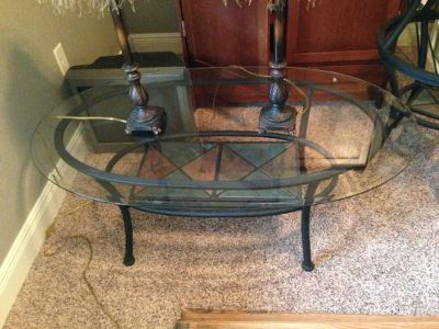 Slate insert coffee table with 2 matching end tables