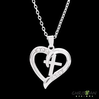 NEW Cross in Heart pendant necklace, silver with sparkling crystals. (4 left) $12