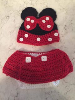 Crocheted minnie mouse diaper cover and hat