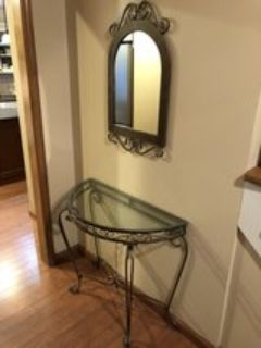 Foyer glass table and mirror
