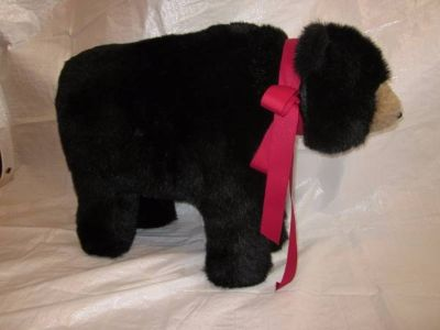 HEN HOUSE Joyce Ditz Designs Black Bear Footrest with Red Bow ~VINTAGE