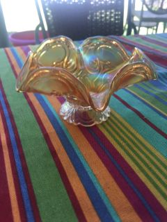 Vintage carnival glass fluted dish. 6 1/2 inch width 3 1/4 inch height