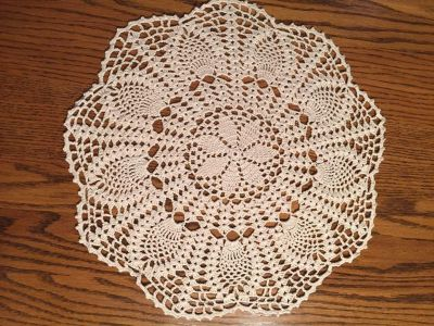 17 Vintage Pineapple and Shell Stitched Flower Garden Doily