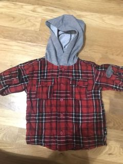 Super cute button up boys flannel size 24 months like new