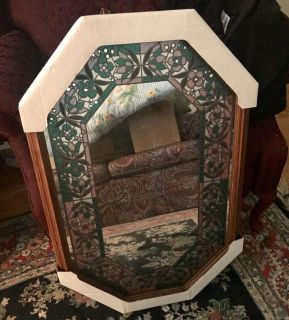 Mirror with stained glass
