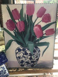New blue vase wall art with Galvanized trim
