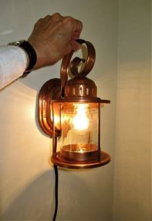 1940s Solid COPPER Electric SCONCE Light, Clear Glass Jelly Jar Shade