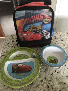 Cars Themed Lunch Bag, Plate and Bowl